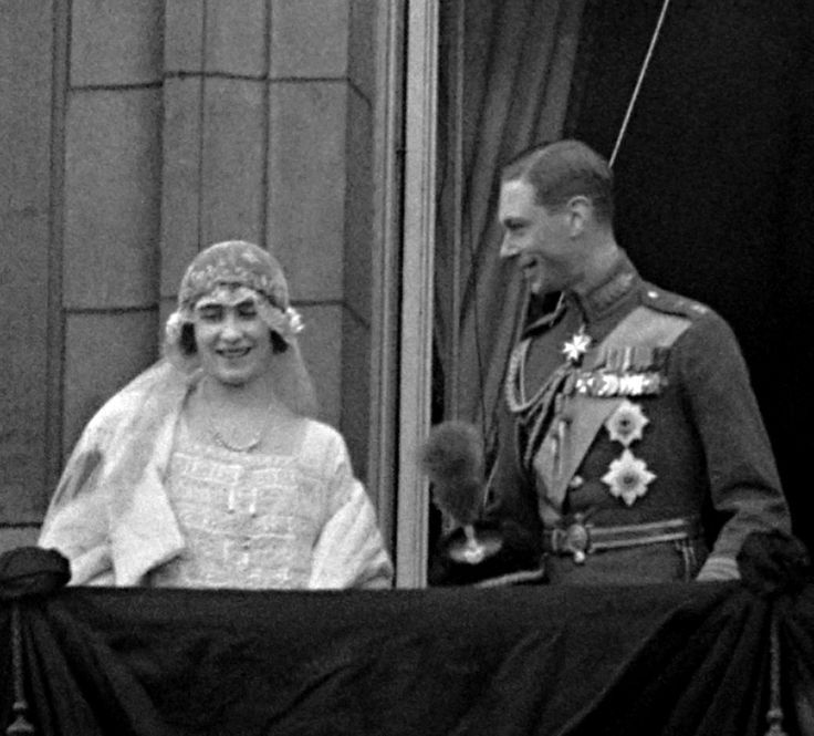 Lady Elizabeth Bowes-Lyon (later to be Queen Elizabeth) and Prince Albert, Duke of York (later to be King George VI) on the balcony of Buckingham Palace after their wedding ceremony at Westminster Abbey on April 26, 1923.