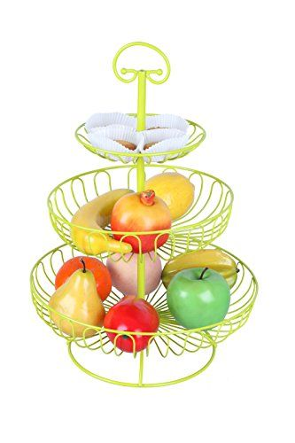 Rene Colorful Fruit Rack 3 Tier Steel Layered Free Standing Kitchen Counter Top Fruit Basket Stand Fruit Holder Fruit Basket Tiered Fruit Basket