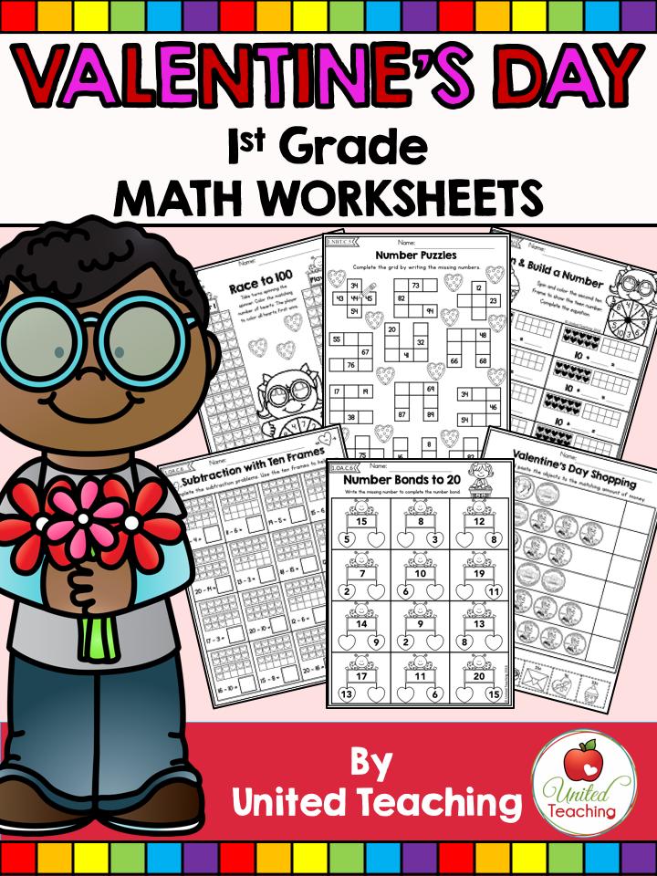 Valentine\'s Day 1st Grade No Prep Math Worksheets
