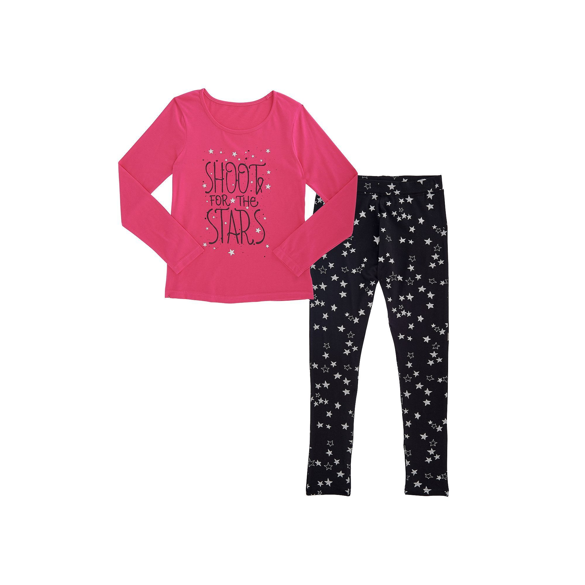 Girls Plus Size French Toast Long Sleeve Graphic Tee & Coordinating Leggings Set, Girl's, Size: 14-16 Plus, Brt Purple