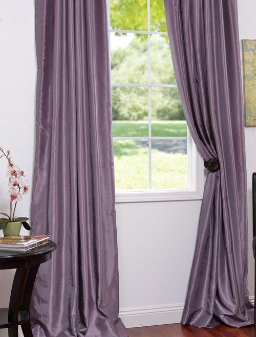Smokey Plum Vintage Textured Faux Dupioni Silk Curtains