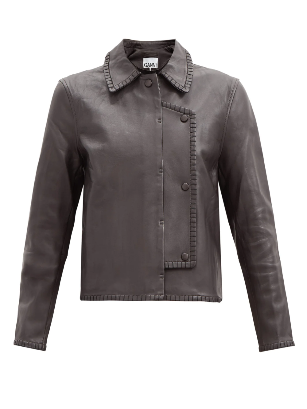 Double Breasted Whipstitched Leather Jacket Ganni Matchesfashion Us Leather Jacket Leather Jackets Women Double Breasted [ 1332 x 1000 Pixel ]