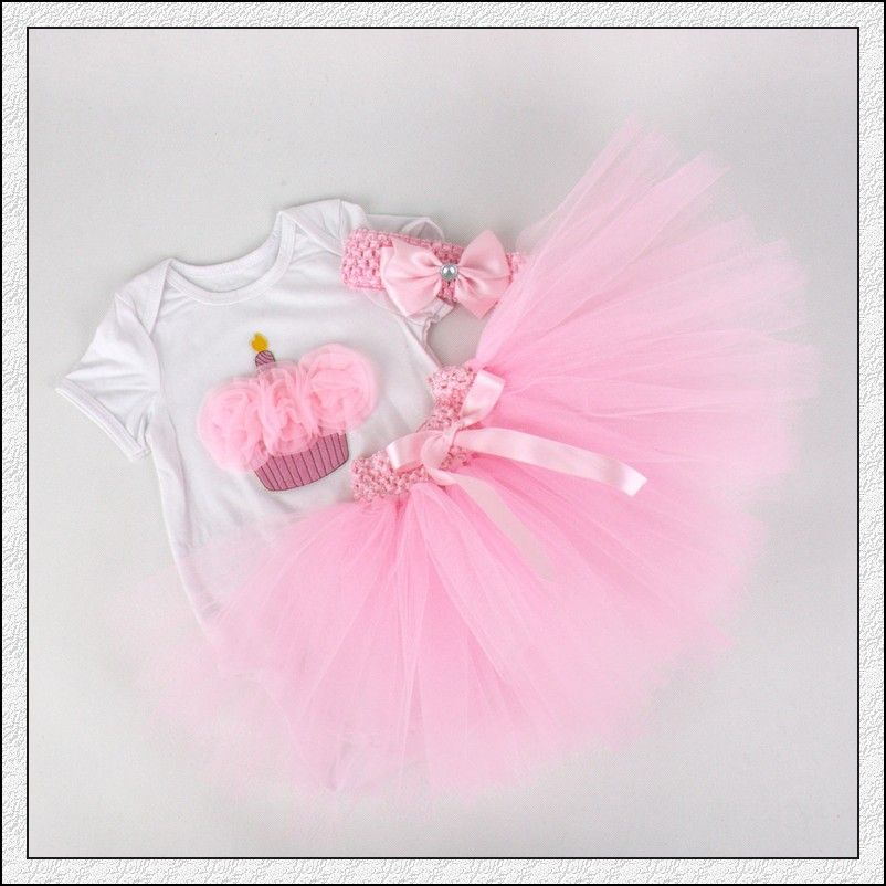 82edb11bf 3Pcs Set Baby Girl Crown Tutu Dress Infant 1st Birthday Party Outfit ...