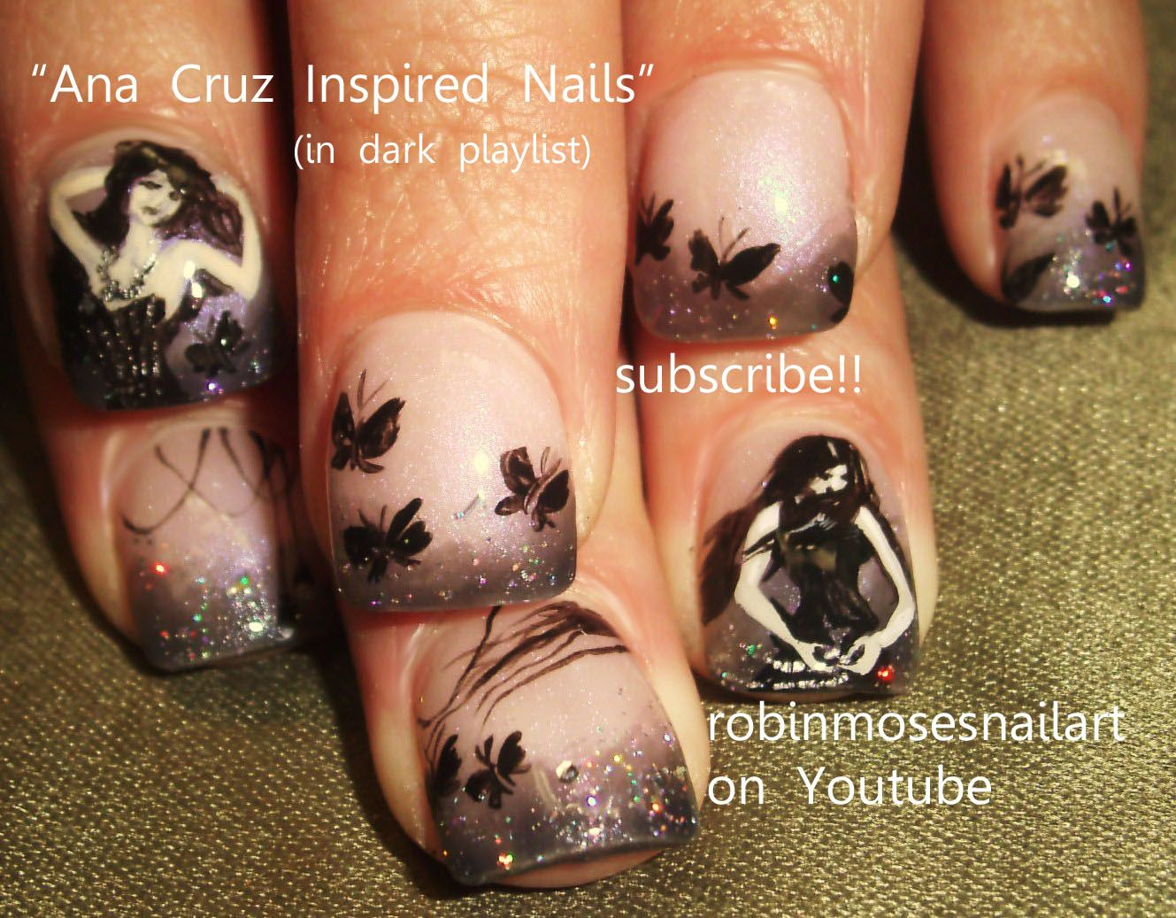 robin moses nail art goth girls with Black Butterflies http://www.youtube.com/watch?v=eZS8W49akh8