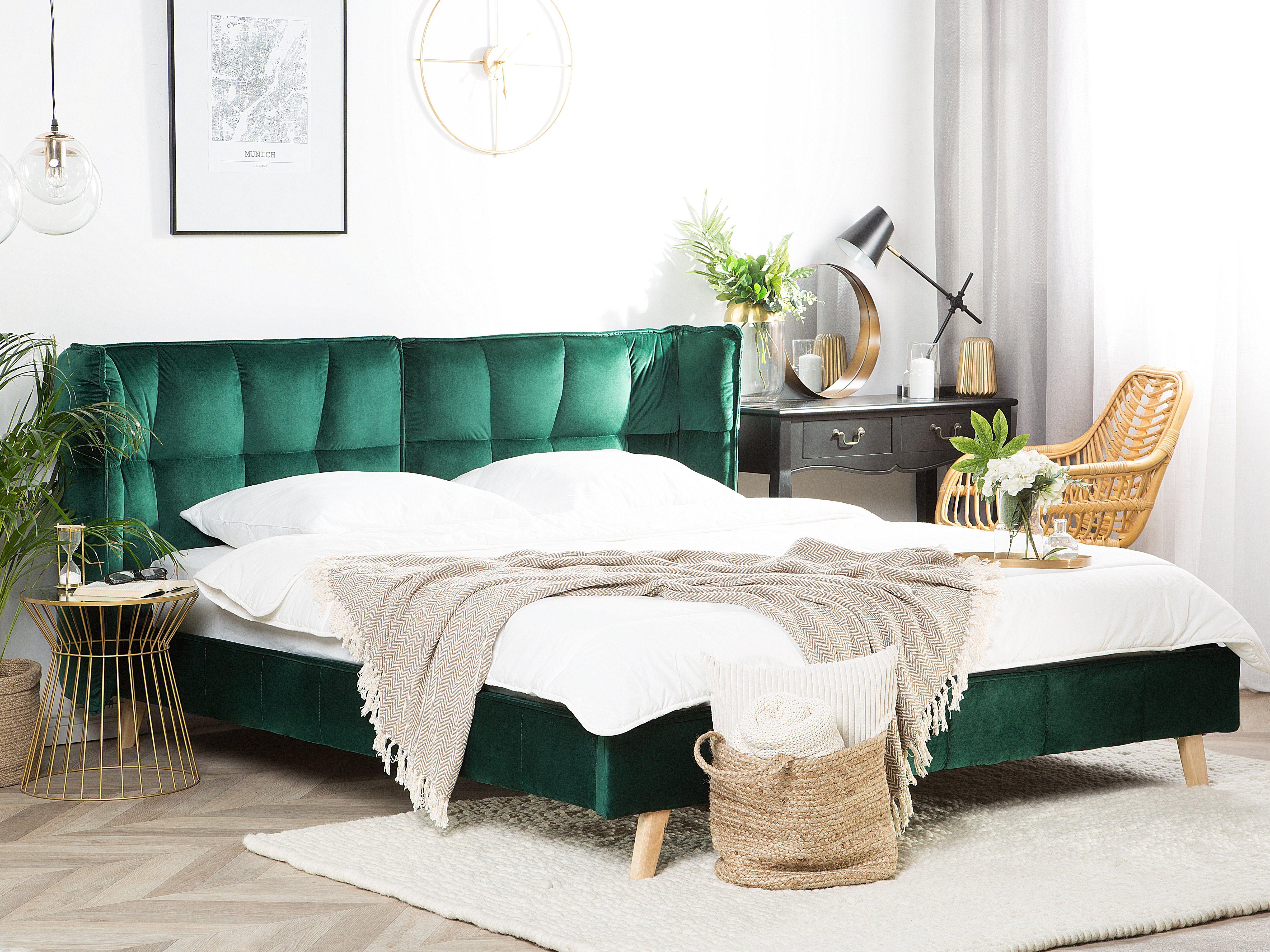 Velvet EU King Size Bed Emerald Green SENLIS Łóżko