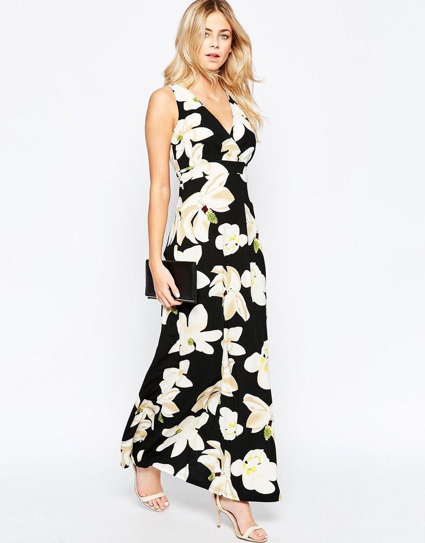 Parisianwrapfrontmaxidressinlargefloral clothes pinterest