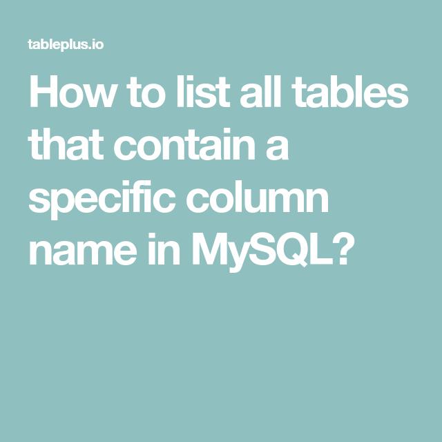 Mysql Show All Tables | Elcho Table