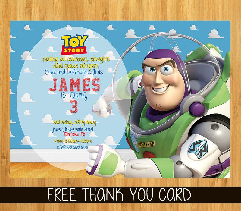 Toy Story Invitation Toy Story Woody Buzz Lightyear invitation – Buzz Lightyear Birthday Card