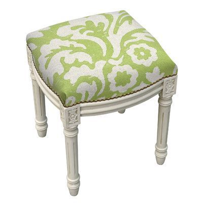 123 Creations Floral Jacobean Linen Upholstered Vanity Stool Color: Chartreuse Green