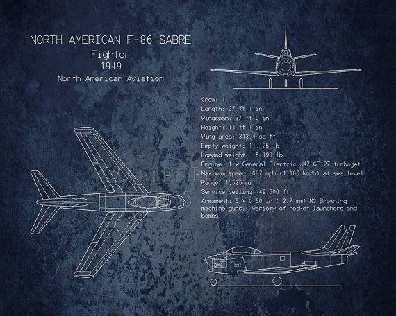 F-86 Sabre airplane blueprint art, aviation, aircraft decor, husband - fresh blueprint awards winners