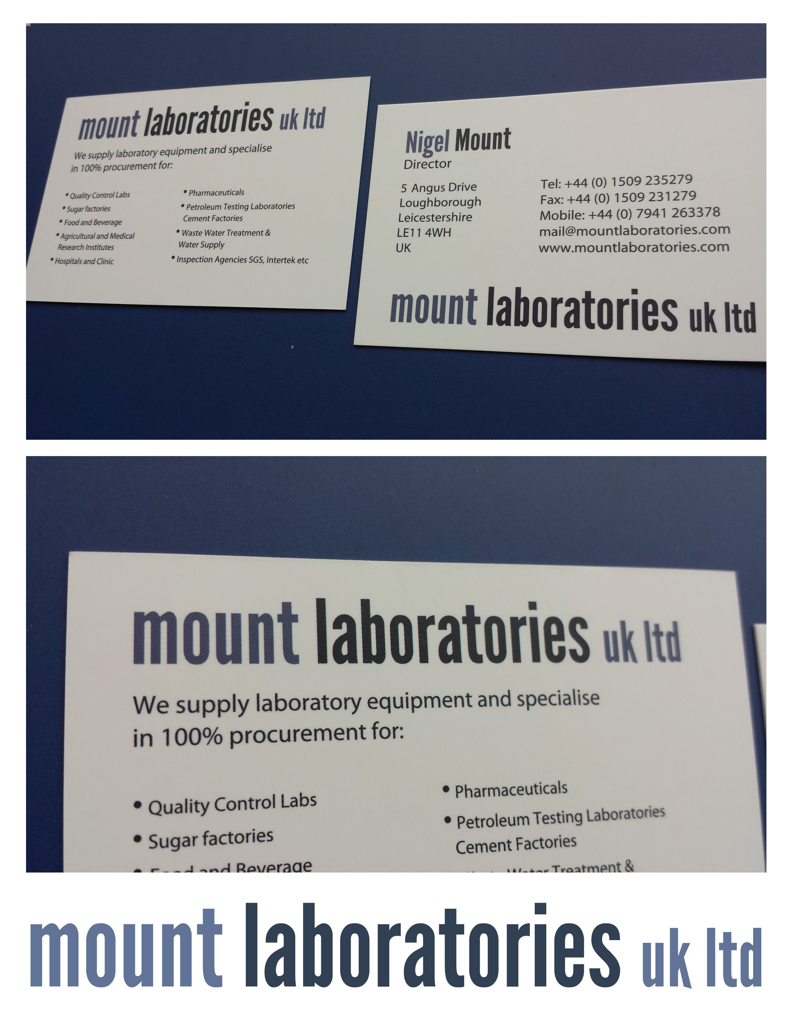 Business cards for Mount Laboratories.