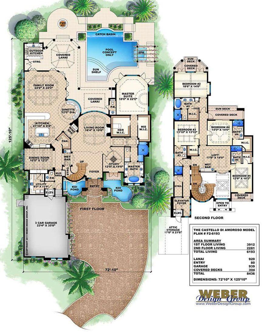 Beach House Plan Mediterranean Style Beach Home Floor Plan House Floor Plans Luxury House Plans House Plans
