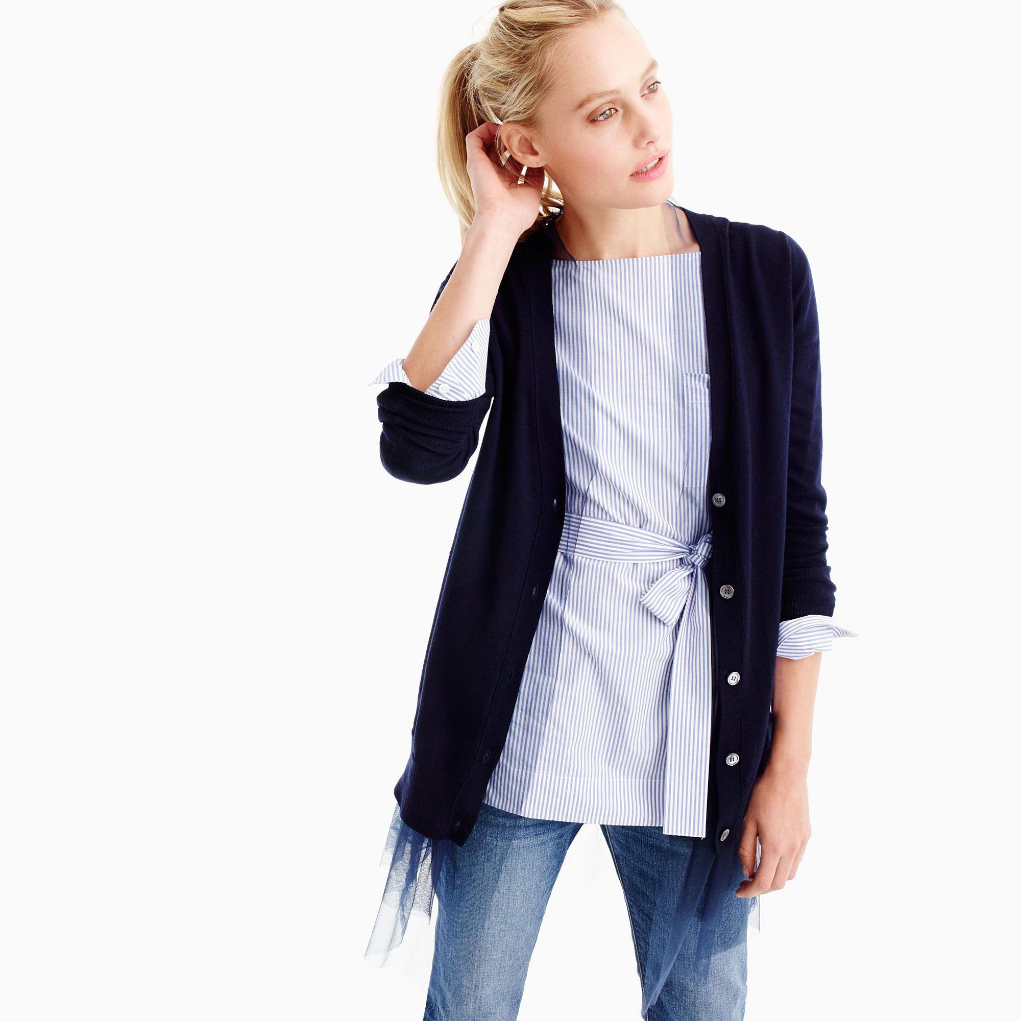 Tulle-hem cardigan sweater : Women sweaters | J.Crew | J Crew ...