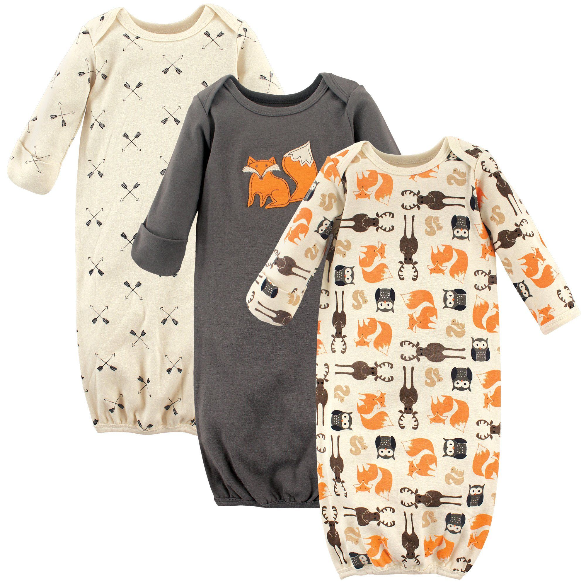 Hudson Baby Baby Infant Cotton Gown 3 Pack Forest 06 Months Read