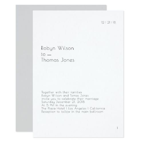 Modern Book Page Wedding Invitation 5x7 Simple Wedding Ideas