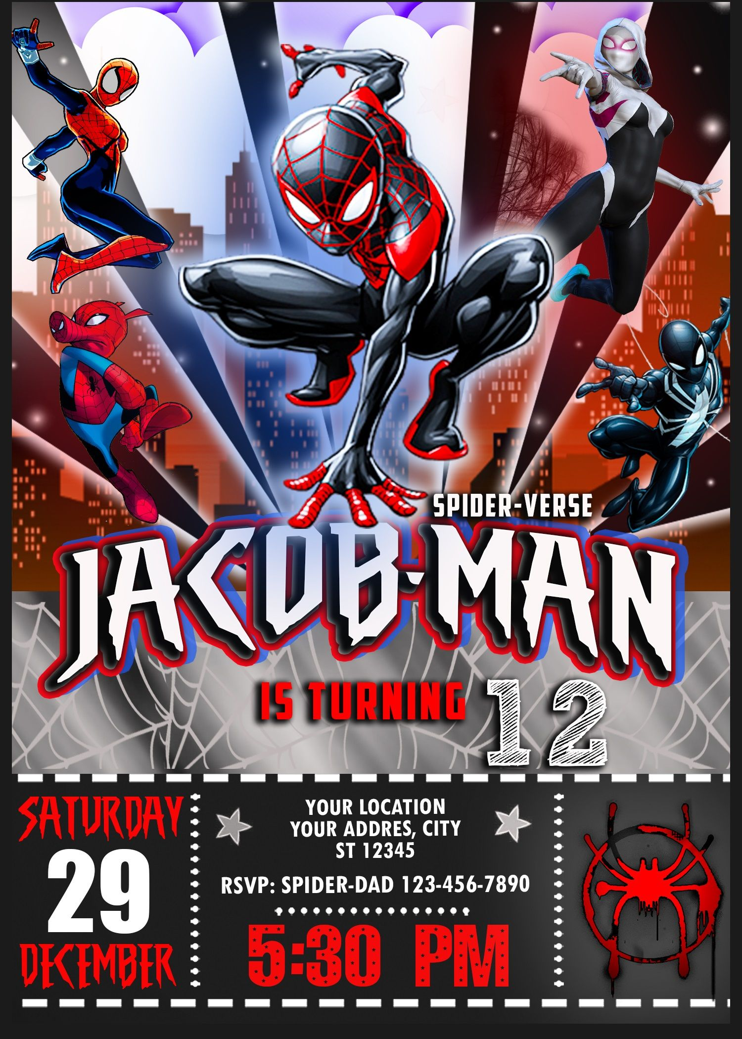 spiderman into the spiderverse birthday invitation