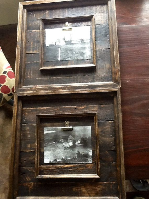 Set Of Two 24x24 Rustic Barnwood Picture Frame Set By Sameasnever 178 00 Rustic Frames Barn Wood Picture Frames Barn Wood