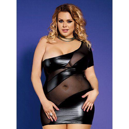 52cc17f841c Bondara Plus Size Mesh and Wet Look Dress - Bondara - andbull  The asymmetric  dress
