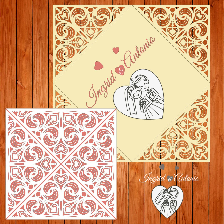 Wedding card invitation template, figures, hearts (ai, eps, svg ...