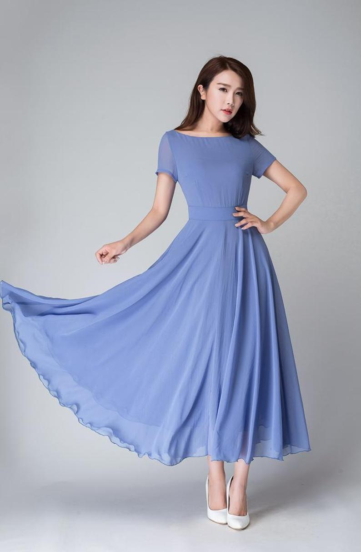 Blue Bridesmaid Dress Summer Women Fit And Flare Chiffon Maxi Etsy Blue Dress Women Summer Dresses Maxi Dress Blue [ 1214 x 794 Pixel ]