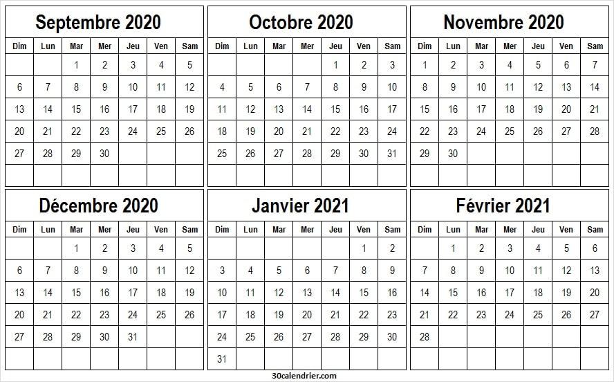 Calendrier Septembre 2020 a Février 2021 Avec Semaine   Pinterest