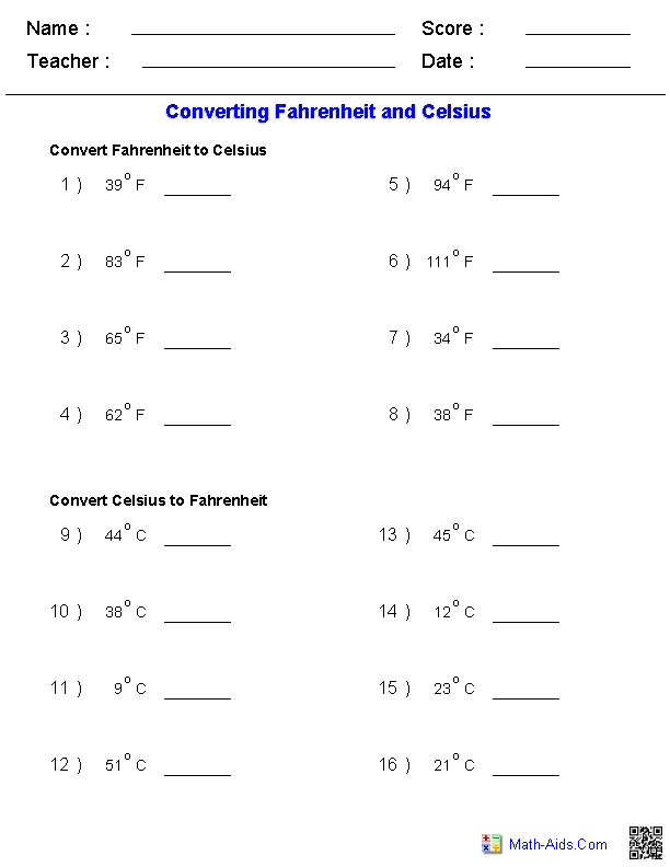 Converting Fahrenheit Celsius Temperature Measurements – Measuring Temperature Worksheets