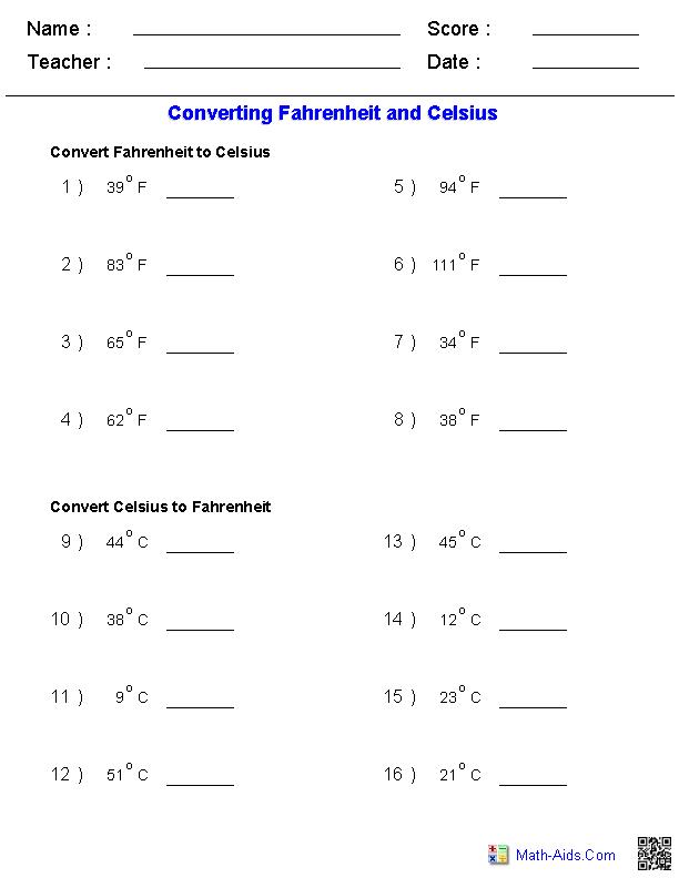 Converting Fahrenheit Celsius Temperature Measurements Worksheets