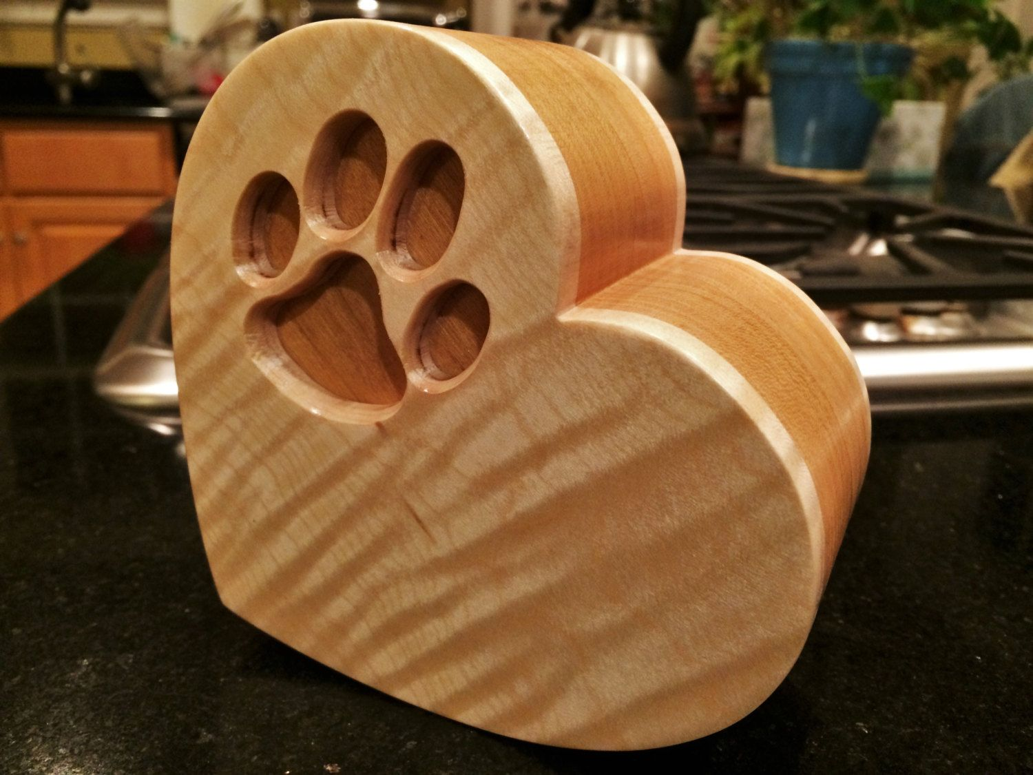 Paw Print Heart Shaped Tiger Maple and Black Cherry