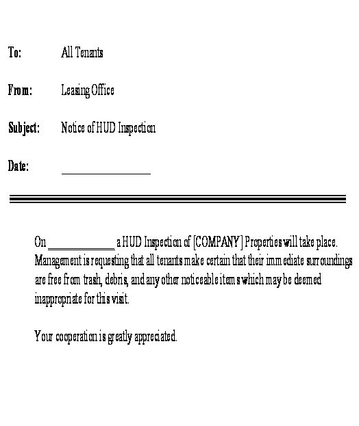 Letter - Notice To Tenants Announcing HUD Inspection template - notice to tenants template