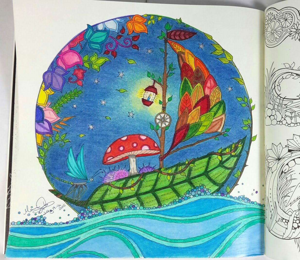 Enchanted forest coloring book website - Finished Color Page Of The Leaf Sailboat From The Enchanted Forest Coloring Book