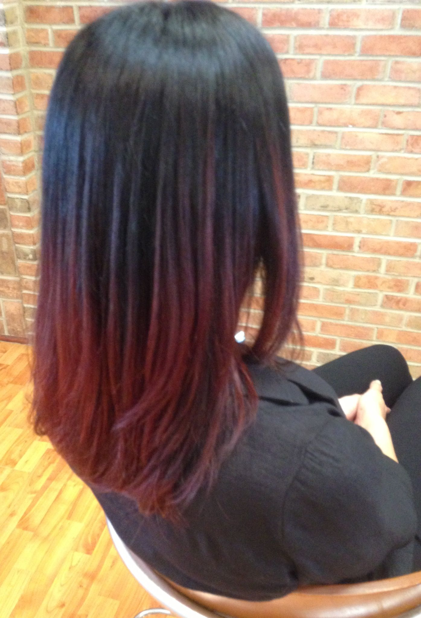 Red Ombre using AVEDA hair color OMBRE HAIR COLOR