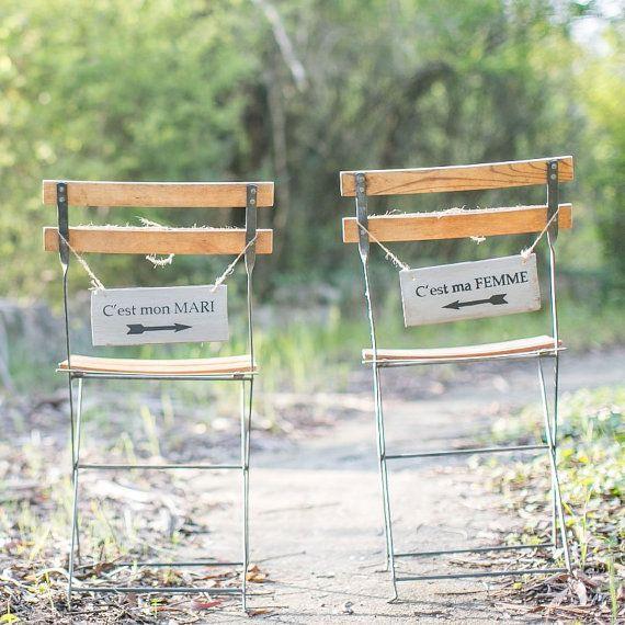 """Pancartes de chaises grises pour mariage """"c est ma femme"""" """"c est mon"""