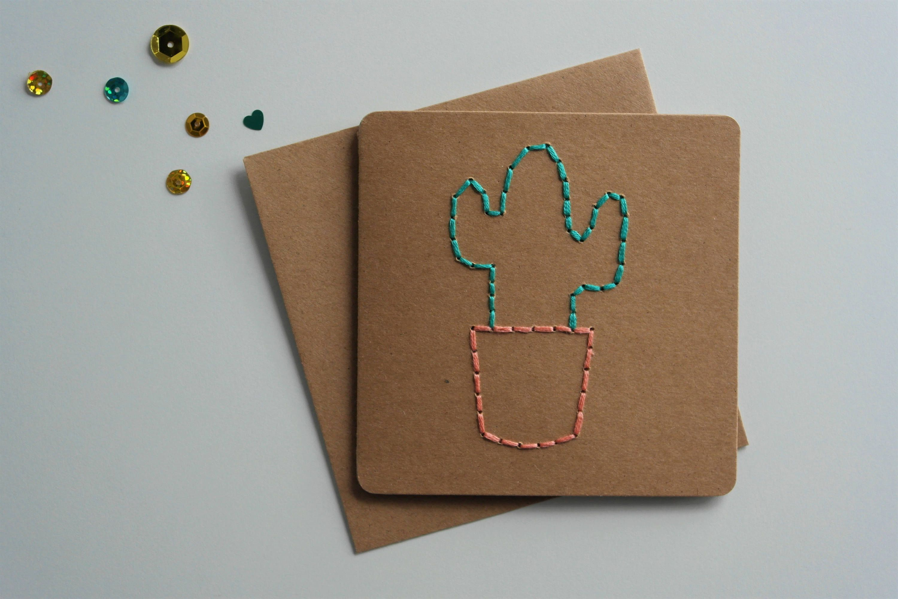 Small Unisex Card Hand Sewn Card Hand Embroidered Card Cacti