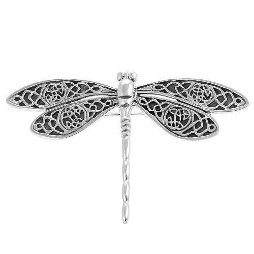 Pewter Insect Summer Dragon Fly Brooch Pin
