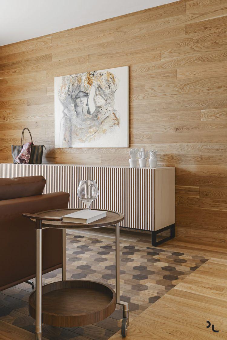 Holz Modern Holzboden Muster Wandverkleidung Wohnzimmer #bodenbeläge # Fliesen #modern #apartment