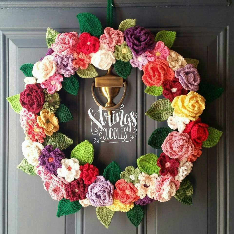 Photo of Crocheted spring wreath (inspiration only, no pattern)