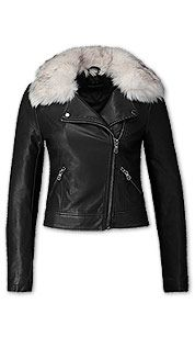 Black biker jacket with fur collar from C&A