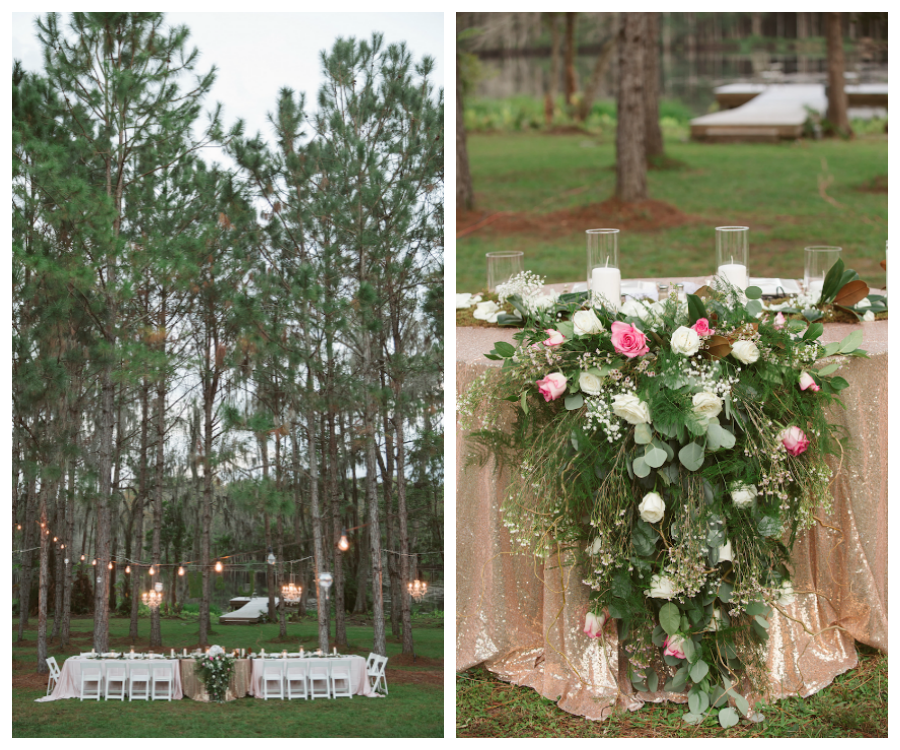 Rustic Glam Gold Pink Outdoor Wedding In The Woods Land O Lakes Twilight Wedding Outdoor Wedding Outdoor Wedding Lighting