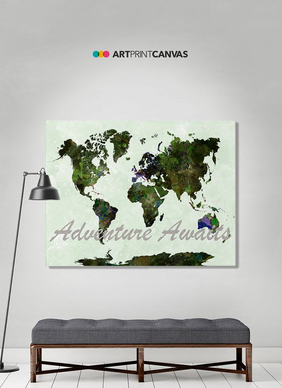World Map Poster Watercolor World Canvas Map Art Print Art - High quality world map poster