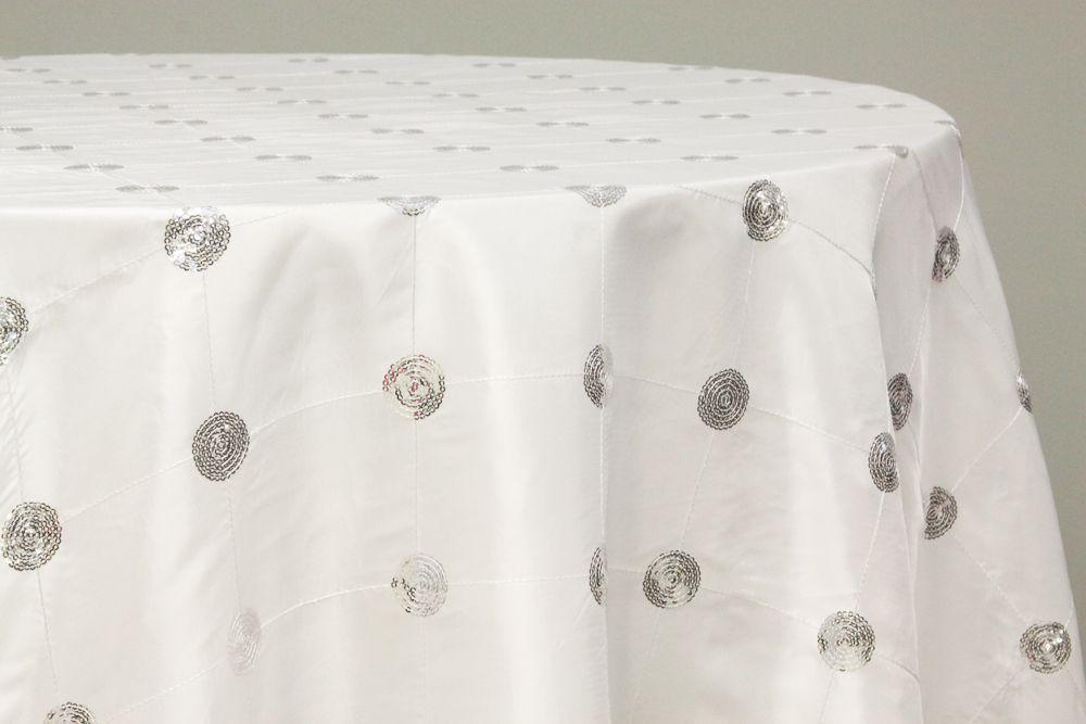 Sequin Embroidery Taffeta 120 Round Tablecloth White Round