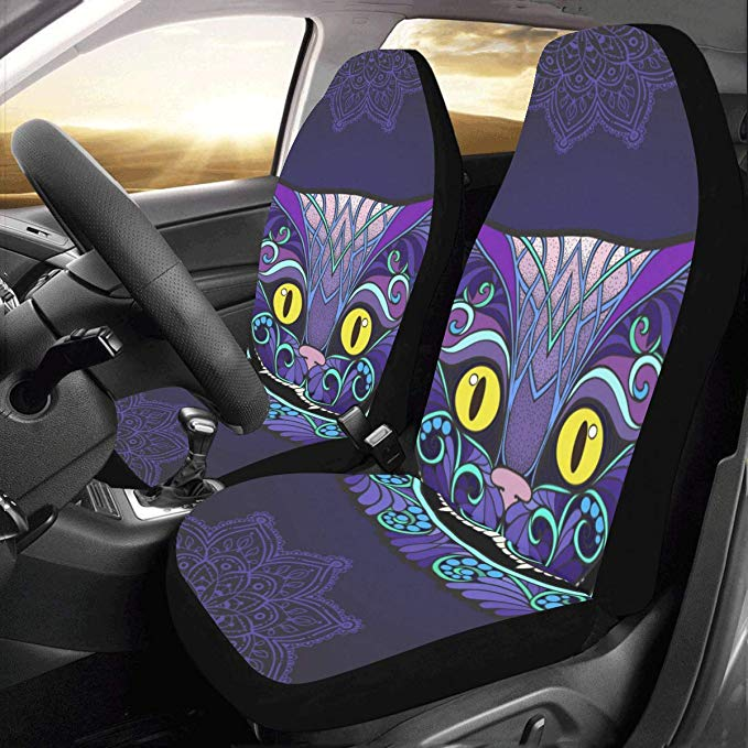 Amazon Com Interestprint Front Car Seat Covers 2 Pcs Cheshire Cat Head Vehicle Seat Protector Polyester Cloth Fabric In 2020 Carseat Cover Car Seat Cushion Car Seats