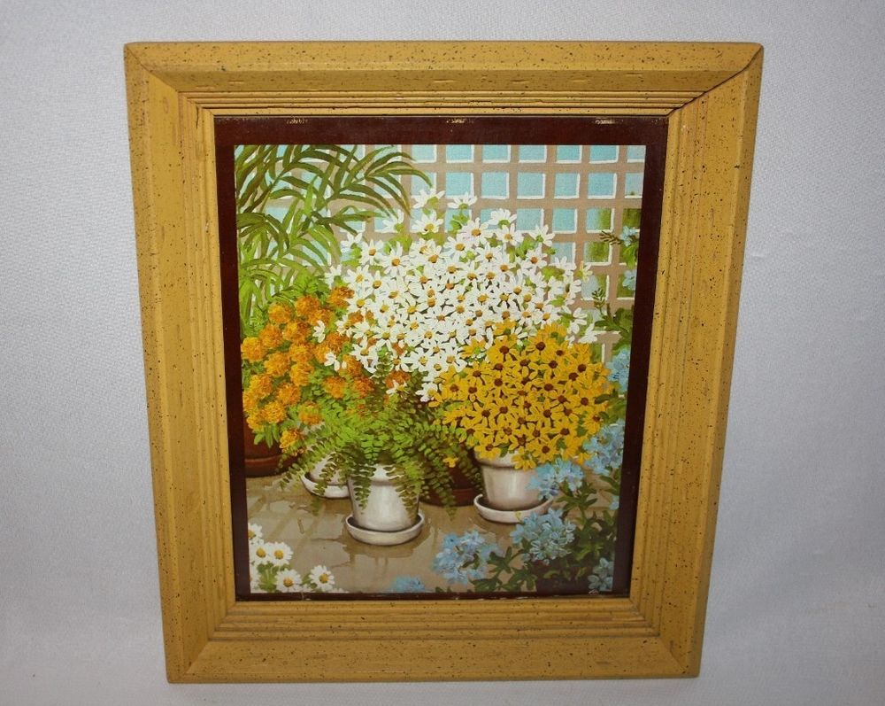 Vtg Yellow Floral Print Framed Yellow Speckled Frame 13 1