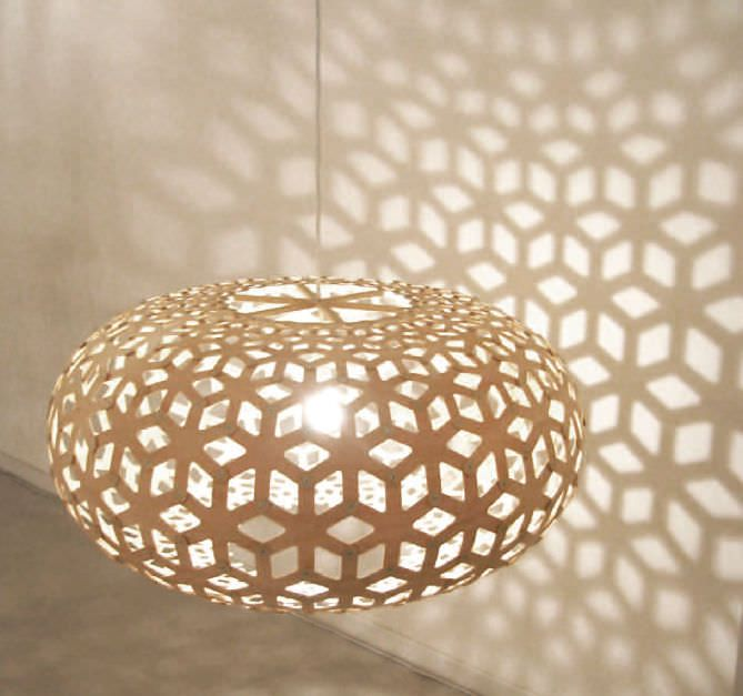 Hänge-Lampe / modern / für Innenbereich / Holz SNOWFLAKE by David ...