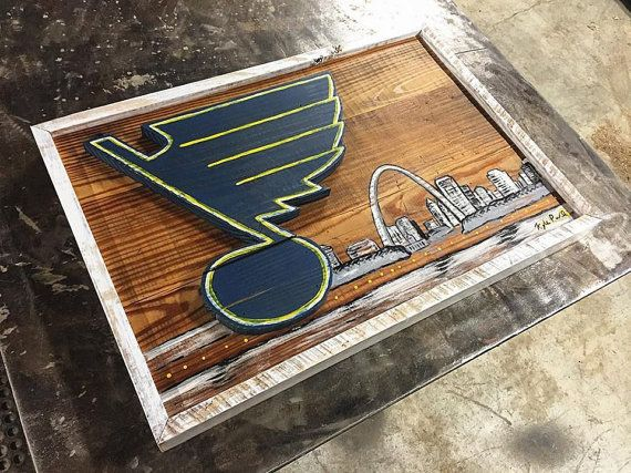 Reclaimed Wood St Louis Blues Sign Blues Sign Blues Etsy Reclaimed Wood Blue Wall Art Wood Canvas