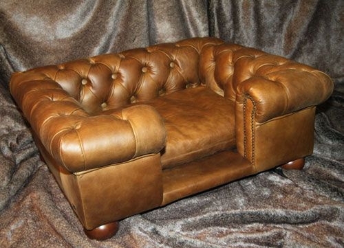 Luxury Real Leather Dog Bed Chesterfield Sofa (