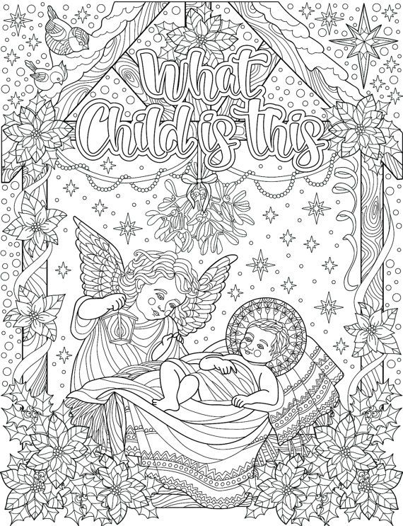 30 Christian Holiday Colouring Cards Digital Download Coloring Holiday Cards Christmas Coloring Cards Easter Coloring Pages