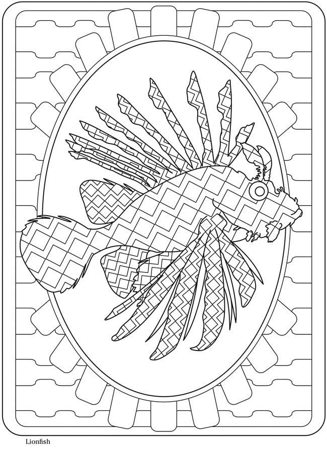 Creative Haven SeaLife Lionfish Welcome To Dover Publications PublicationsColoring Book PagesDoversTattoo