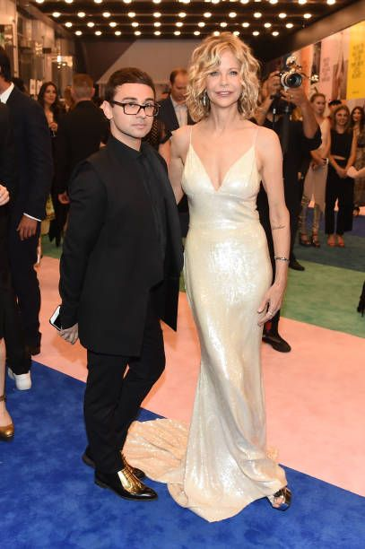 Designer Christian Siriano and Meg Ryan attend the 2017 CFDA Fashion Awards Cocktail Hour at Hammerstein Ballroom on June 5 2017 in New York City