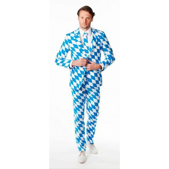 Luxe heren pak met Beierse print. Net pak voor heren met all over print in het blauw en wit van de Beierse vlag. Het pak is gemaakt van hoogwaardig polyester en wordt geleverd met een bijpassende stropdas. Een prachtig pak om bijvoorbeeld tijdens Oktoberfest te dragen. Carnavalskleding 2015 #carnaval