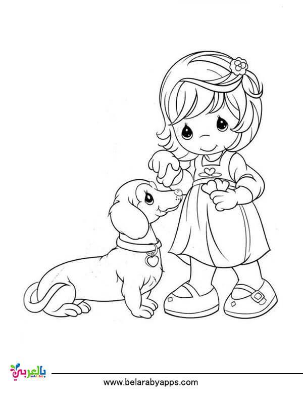 رسومات عن الرفق بالحيوان للتلوين جاهزة للطباعة للاطفال بالعربي نتعلم Precious Moments Coloring Pages Puppy Coloring Pages Dog Coloring Page
